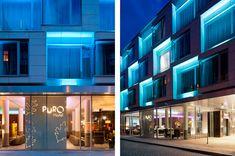 VoyeurDesign - Iluminación de hoteles. Iluminación de la fachada. PURO Hotel de Blacksheep, puro diseño tecnológico
