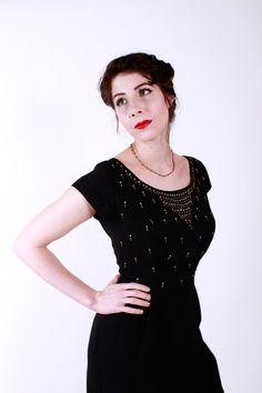 Vintage 50s Dress Black Rayon Rhinestone and by stutterinmama, $148.00