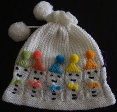 Pompon Mütze mit Schneemann Logo - ༺ ღ¸༻ Ĥats ༺ ღ¸༻ - Baby Boy Knitting Patterns, Baby Cardigan Knitting Pattern, Knitting Stiches, Baby Hats Knitting, Hand Knitting, Crochet Designs, Crochet Patterns, Knitted Hats Kids, Fingerless Gloves Knitted