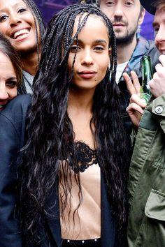 "celebritiesofcolor ""Zoe Kravitz attends MILK Studios Makeup Line launch rager in NYC "" - braids My Hairstyle, Box Braids Hairstyles, Wavy Hair, Her Hair, Zoe Kravitz Braids, Zoey Kravitz, Curly Hair Styles, Natural Hair Styles, French Braid Ponytail"