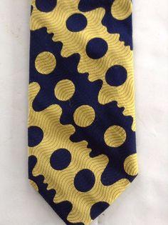 Yves Saint Laurent Men's Tie Necktie Blue Yellow Abstract Geometric #YvesSaintLauren #Tie