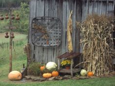 our barn with gourds, tobacco, fodder and pumpkins