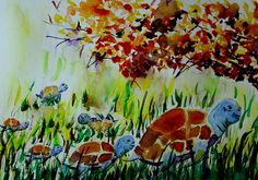 Turtle Escape - by Medea Ioseliani -  Hello and welcome to my Art World of colors and magic, I am an artist Medea Ioseliani and you are welcomed to visit my artist's workshop to get ideas for home decor or get some gift ideas and simply get inspired by art.  #decoridea #medeaart #fantasyart #artprint #colorful #walldecor #colorfulart #fineart #fineartprint #art  #artgallery #artwork #homedecor #decor #giftideas #gallery #artideas #painting #giftidea #artlover #arte Fine Art Drawing, Art Drawings, Artist Workshop, Fine Art Prints, Canvas Prints, Unique Wall Decor, Decor Ideas, Gift Ideas, World Of Color