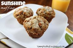 These Apple Carrot Muffins (also known as Sunshine Muffins) are full of carrots, apples, coconut, cinnamon & nutmeg. Your house will smell amazing after baking a batch of them! Carrot Muffins, Healthy Muffins, Skinny Muffins, Healthy Snacks, Vegetarian Snacks, Healthy Breakfasts, Carrot Cake, Healthy Eats, Healthy Breakfast Options