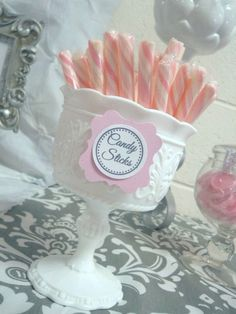 "Candy ideas - vintage milk glass - Pink + Grey Damask Baby Shower / Baby Shower/Sip & See ""Pink + Gray Damask Baby Shower"" 