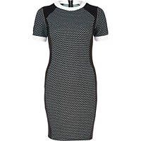 Black check color block bodycon dress