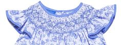 Anavini Girls French Blue Toile Pique Smocked Dress - Angel Sleeves