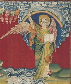 Tapisserie Apocalypse de Saint Jean (Detail: Tapestry of the Apocalypse of John) (Hennequin de Bruges - )  circa 1377-1382.   Located in the Chateau d'Angers, France. The tapestry is the oldest French medieval tapestry to have survivied. It was lost in the 18th century and subsequently restored in the 19th century.