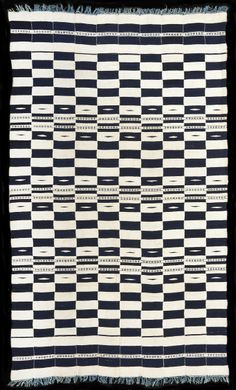 Fine early to mid C20th cotton blanket in excellent condition. Exceptional design. Indigo and white hand spun cotton, Bamana or Fulani weaver, Mali. Private collection.
