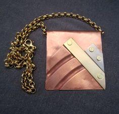 metal pendant necklace industrial jewelry by FirednWiredJewelry