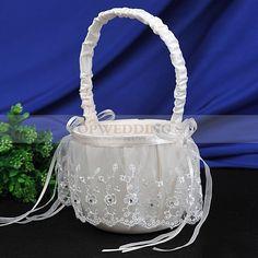 Ivory Lace Satin Flower Basket with Rhinestones