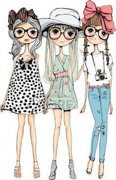 illustratie schets meisje collectie Stockfoto - 14007236
