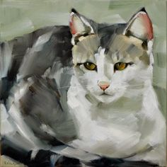 """Michel   Oil on Canvas   10x10""""       This cat is so beautiful with his white, white fur, black tips on his ears, and golden eyes. W..."""
