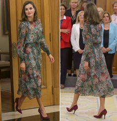 Queen Letizia in zara dress at Palace of Zarzuela in Madrid