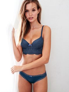 We are feeling the blues, big time. And, you know, everything else about this bra. | Victoria's Secret Long Line Demi Bra