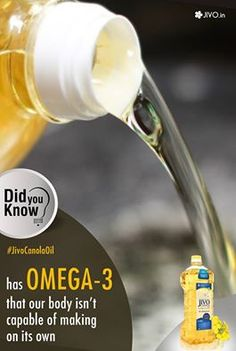 ‪#‎DidYouKnow‬ ‪#‎JivoCanolaOil‬ has Omega-3 that our body isn't capable of making on its own! Canola Oil is one of the healthiest oils in the market. It has gained worldwide popularity due to its low level of saturated fat, high monounsaturated fat and ideal balance of Omega-3 and Omega-6 fats. To learn more about Omega-3 and why it is important for us to consume it! Try & experience the difference! Share & Spread this fact for everyone to know!
