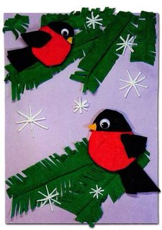Christmas Activities For Kids, Winter Crafts For Kids, Winter Fun, Spring Crafts, Holiday Crafts, Bird Crafts, Felt Crafts, Diy And Crafts, Painting For Kids