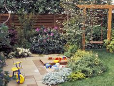 Family gardens should feature plants that are practically indestructible, plus an area for a play gym or sandbox and a hard surface.