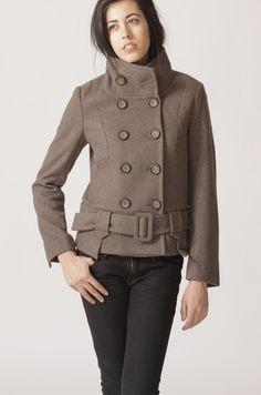 Double breasted coat J047   wool coat PEACOAT brown coat chocolate coat  short jacket winter outerwear fe820c97abbfd