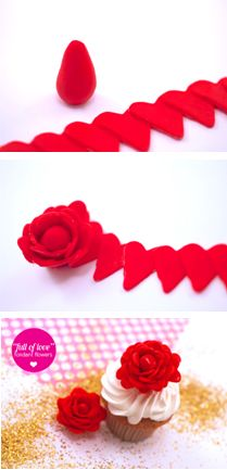 Love the heart idea How to make 'Full of Love' flowers out of mini fondant hearts. Great for cake or cupcake decorating! Fondant Flower Tutorial, Fondant Flowers, Sugar Flowers, Cake Tutorial, Icing Flowers, Fondant Rose, Fondant Cookies, Fondant Icing, Fondant Toppers
