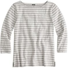 J.Crew Striped Boatneck T-Shirt ($39) ❤ liked on Polyvore featuring tops, t-shirts, jcrew, shirts, loose t shirt, white stripes t shirt, striped shirt, white striped shirt and white cotton shirt