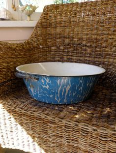 Enamelware Blue and White Graniteware Basin by COMPOSINGSpaces, $68.00