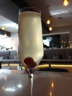 The Refresher (5 grapes 2 mint sprigs ½ oz. simple syrup 1¼ oz. vanilla vodka ½ oz. lemon juice 1 oz. chardonnay Prosecco)