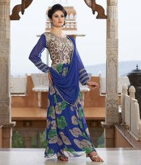 Blue Color Georgette Unstitched Designer Gown For Wedding : Pritisha Collection YF-32154