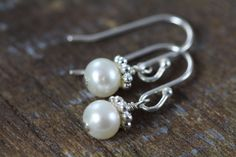 Flower Girl Pearl Earrings - 925 Sterling Silver and Ivory White Pearls Pearl Jewelry, Pearl Earrings, Flower Girl Jewelry, Bridesmaid Gifts, Bridesmaids, Personalized Charms, White Freshwater Pearl, Girls Earrings, Artisan Jewelry