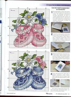 Baby booties cross stitch by meitiny