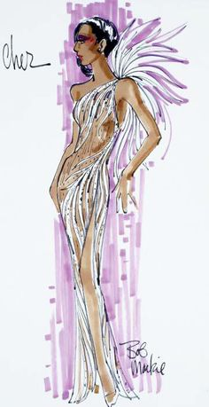 """Felt pen on paper design sketch for beaded feather motif winged gown, inscribed """"Cher, Bob Mackie."""" Sold by auction. Dress Sketches, Fashion Sketches, Fashion Illustrations, Hijab Fashion Inspiration, Style Inspiration, Bob Mackey, Fashion Art, Fashion Outfits, Fashion Design"""