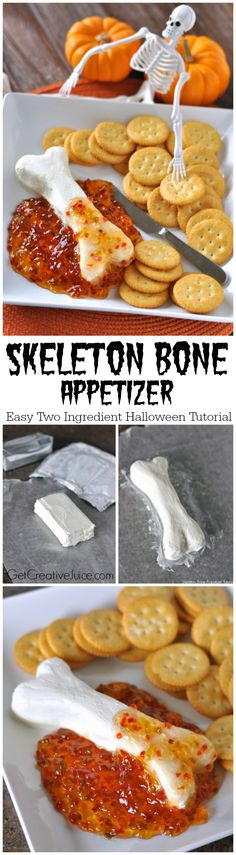 Skeleton Bone Easy Halloween Appetizer - cream cheese shaped like a bone and pepper jelly 'guts'! So easy and clever! (recipes for snacks cream cheeses) Entree Halloween, Soirée Halloween, Halloween Goodies, Halloween Food For Party, Halloween Treats, Halloween Quotes, Halloween Birthday, Fall Recipes, Holiday Recipes