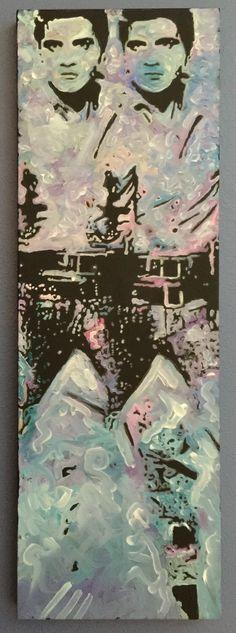 "Elvis Presley ""Gunslinger Rex"" like Andy Warhol Original Painting by artist Matt Pecson"