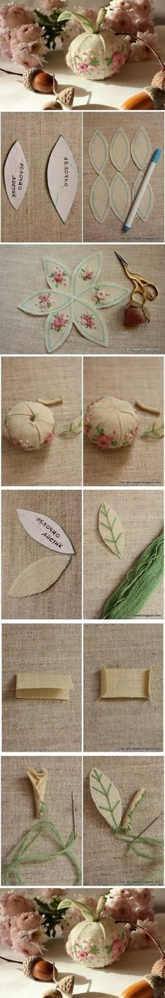 "I ❤ pincushions . . . DIY Fabric Apple Decor- ""looks like one to me"""