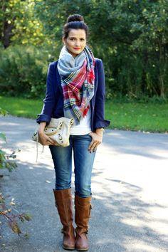 Plaid Blanket Scarf, Blazer & Boots