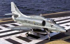 A Brazilian Navy A-4 Skyhawk during carrier operations.