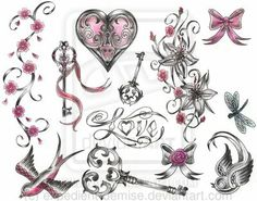 Victorian girly tattoo flash