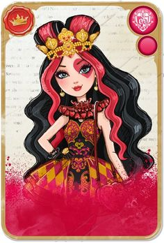 Lizzie Heartsis a 2013-introduced and all-around character. She is part of Alice's Adventures in Wonderland as the next Queen of Hearts, and she is a student at Ever After High. In the destiny conflict, she is on the Royal side because of years of family dedication, practice, and belief of destiny in general. Despite her dreams of becoming part of Wonderland's future monarch, Lizzie has aspirations on becoming a kinder Queen of Hearts, however she has trouble expressing that to her…