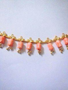 Gold Earrings Designs, Gold Jewellery Design, Bead Jewellery, Temple Jewellery, Necklace Designs, Beaded Jewelry, Jewelery, Gems Jewelry, Coral Jewelry