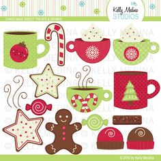 This Christmas set will be perfect for cupcake toppers, birthday party invites, gift tags, and party decorations.    Formats:    300dpi transparent PNG files, 300dpi jpeg files