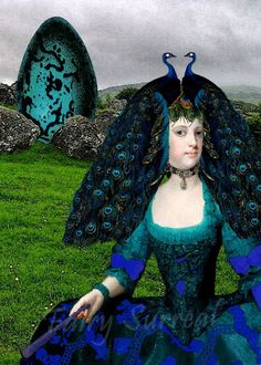 PEACOCK LADY digital altered art print by ProjectBunny on Etsy, $8.00