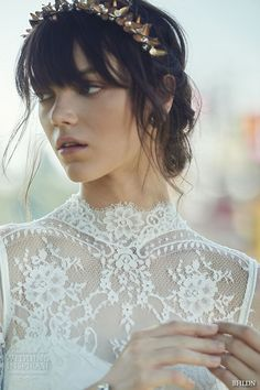 bhldn fall 2016 bridal dresses beautiful high neck lace short sleeves wedding dress with head pieces style bridgette -- BHLDN Fall 2016 Bridal Collection Bhldn Wedding Dress, Fall Wedding Dresses, Wedding Dress Sleeves, Boho Wedding Dress, Bridal Dresses, Wedding Gowns, Lace Wedding, Trendy Wedding, Dress Lace