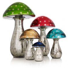 Glass Mushroom Decoration from Oliver Bonas Mushroom Decor, Mushroom Art, Unique Living Room Furniture, Glass Mushrooms, Fungi, Vintage Christmas, Home Improvement, Stuffed Mushrooms, Candle Holders
