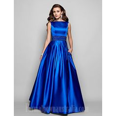 TS Couture® Prom / Formal Evening / Military Ball Dress - Vintage Inspired Plus Size / Petite A-line / Ball Gown Bateau Floor-length Satin with 466594 2016 – Cheap Prom Dresses Online, Cheap Formal Dresses, Evening Dresses Online, Cheap Evening Dresses, Prom Dresses For Sale, Ball Dresses, Satin Dresses, Evening Gowns, Ball Gowns