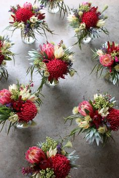 Swallows Nest Farm: Hobart Wedding in October Wedding Table Flowers, Bridal Flowers, Floral Wedding, Wedding Bouquets, Protea Wedding, Summer Flower Arrangements, Christmas Floral Arrangements, Flower Vases, Table Arrangements