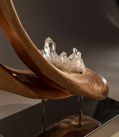 Lotus   Indonesian Rosewood & Quartz Sculpture   Dorit Schwartz Sculptor