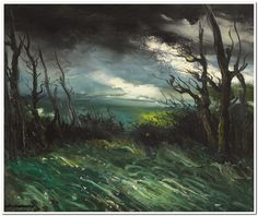 Maurice de Vlaminck (French, 1876-1958), Paysage au crépuscule [Landscape at dusk]. Oil on canvas, 54.5 x 65.5 cm.