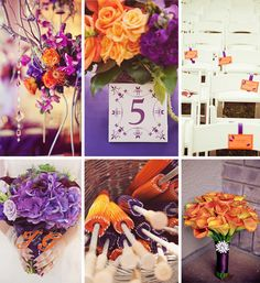 Orange and purple color scheme, beautiful for a fall wedding