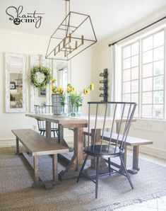 When hanging a chandelier above an ashley furniture dining table. Diy Pottery Barn Inspired Dining Table For 100 Shanty 2 Chic Black Wood Farmhouse Table Plans, Farmhouse Dining Room Table, Modern Farmhouse, Kitchen Modern, Farmhouse Decor, French Farmhouse, Farmhouse Style, Kitchen Ideas, Kitchen Decor