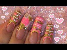 Gold and Pink Hearts ~ Crystals Nail Art Design Tutorial